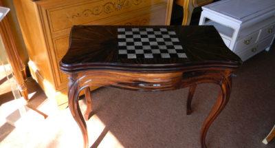 Modification d'une table de jeun Napoléon III - Dessus Ébène de Macassar et Galuchat - Atelier Alain Maury